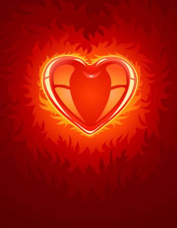 red burning love heart - illustration Stock Illustration - 6589965