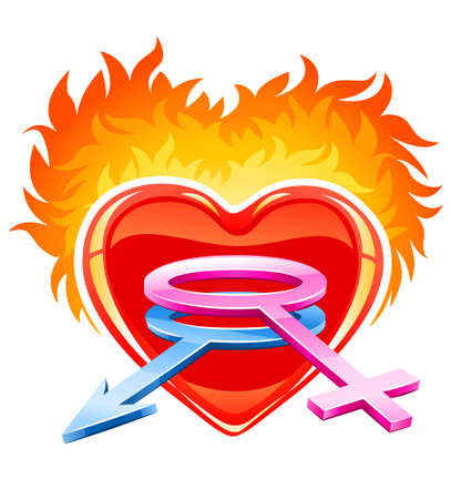 red burning love heart with male and female symbols - illustration Stock Illustration - 6589966