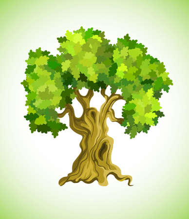 leafage: green tree oak as ecology symbol illustration