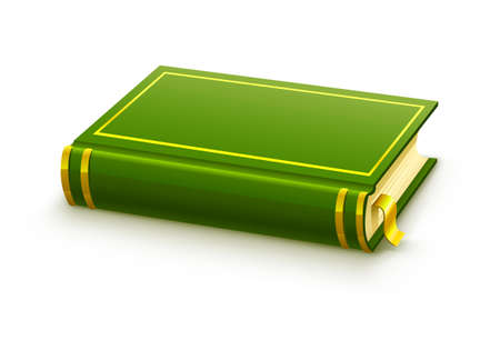 closed green book with blank cover illustration, isolated on white background Stock Illustration - 6589975