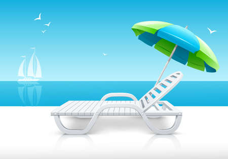 chaise longue: beach chaise lounge with umbrella on sea coast  illustration