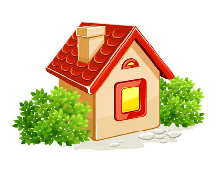 diminutive: little private house in green bushes  illustration, isolated on white background Stock Photo