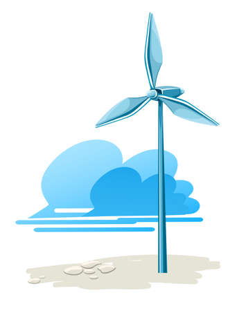 force of the wind: wind turbine for electricity energy generation illustration