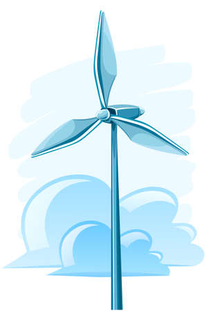 wind force: wind turbine for electricity energy generation illustration