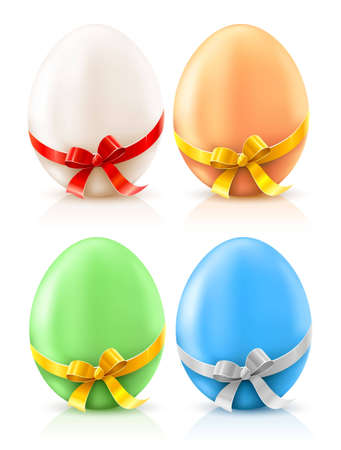 festal: set of painted easter eggs with bows  illustration, isolated on white background