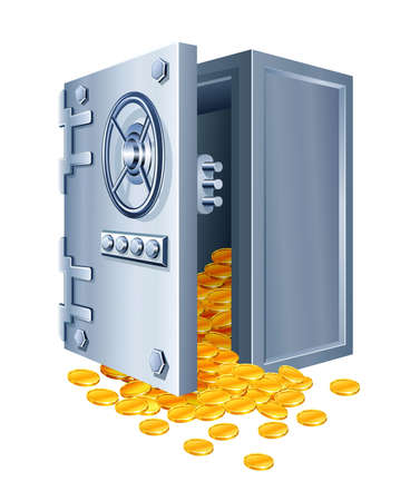 open safe with gold coins illustration isolated on white background Stock Illustration - 6690884