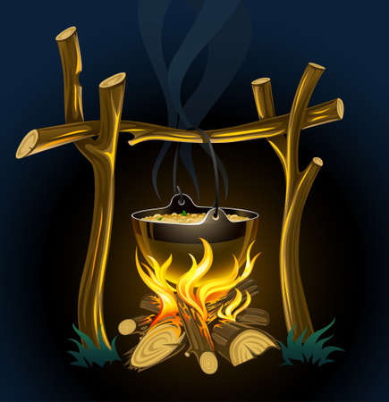 nighttime touristic campfire and kettle with food illustration illustration
