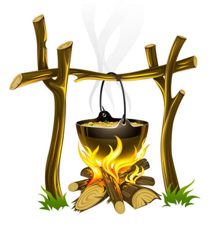 boiling: day touristic campfire and kettle with food illustration