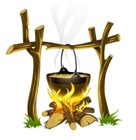 kettles: fogata tur�stico de d�a y hervidor de agua con ilustraci�n de alimentos Foto de archivo