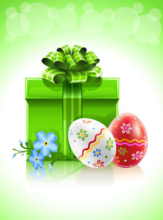 easter gift with bow flower and painted eggs Stock Photo - 6759947