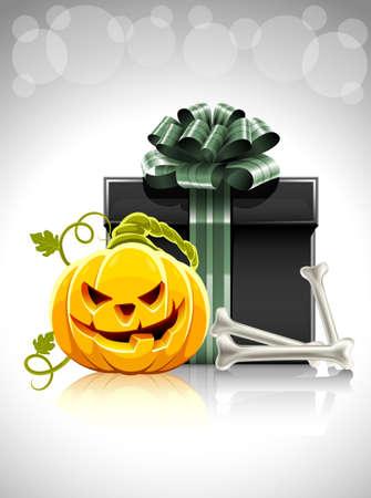 nightmarish: pumpkin head with bone and gift for halloween illustration