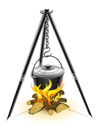 woodpile: black kettle for campfire on tripod illustration isolated on white background Illustration