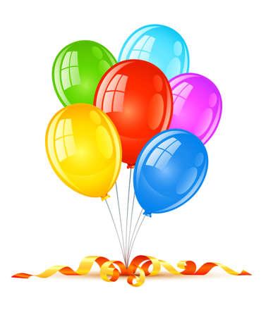 coloured balloons for birthday holiday celebration illustration, isolated on white background Stock Illustration - 6824047