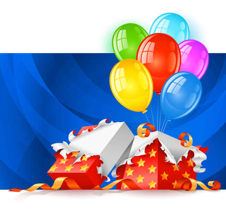 open gift box with color balloons illustration, isolated on white background Stock Illustration - 6824050