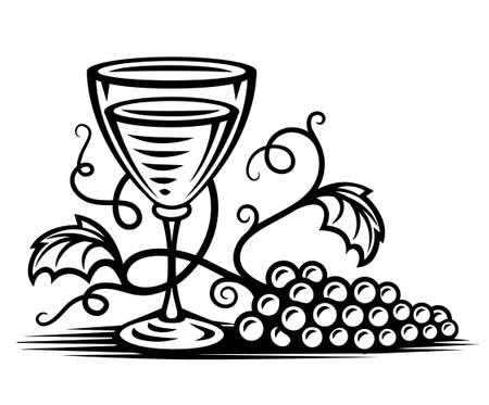 black glass with wine and vine willow illustration, isolated on white background Stock Illustration - 6824051