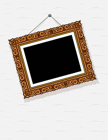 wall hanging: empty picture in decorative frame on wall illustration