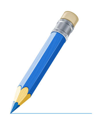 sharpen: blue pencil drawing line illustration isolated on white background