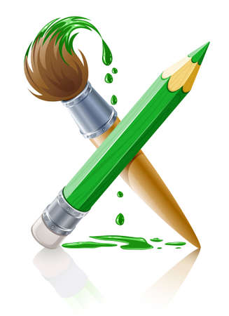 green brush: green pencil and brush with paint illustration isolated on white background