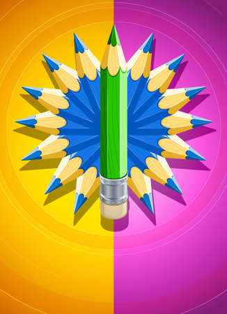 design background with circle made of coloured pencils illustration Stock Illustration - 6824056