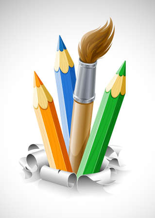 coloured pencils and brush in torn paper illustration Stock Illustration - 6824055
