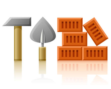 building tools hammer trowel and bricks  Stock Photo - 6931833