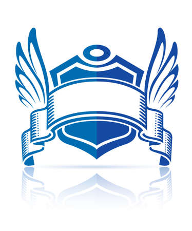 icon with shield ribbon and wings