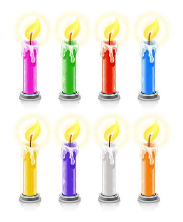 coloured burning holiday candles  illustration, isolated on white background Stock Illustration - 7017811