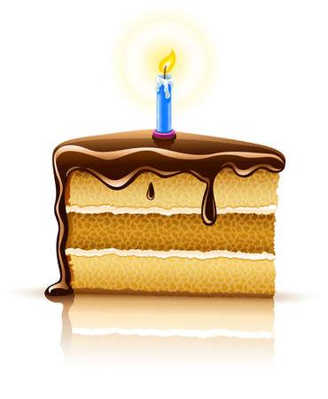 trozo de pastel: trozo de pastel de chocolate de cumplea�os con la grabaci�n de la ilustraci�n de la vela, aislado en fondo blanco