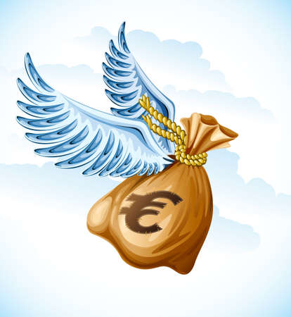bag of money: flying sack of euro money with wings  illustration