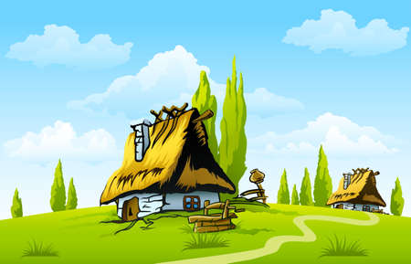 landscape with old house in the village Stock Vector - 7092557