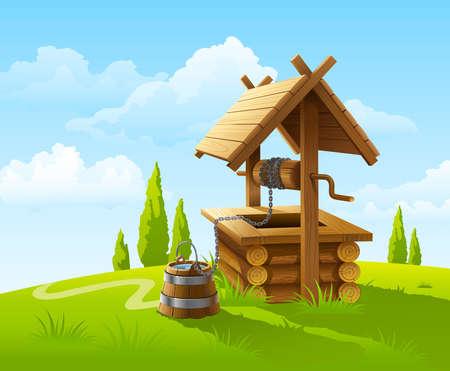 emmer water: landschap met oude houten goed en emmer water  Stock Illustratie
