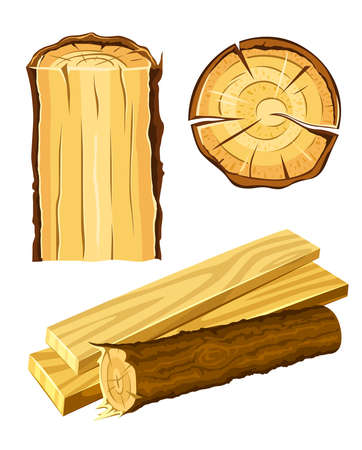 timber cutting: set of wooden materials - wood and board vector illustration isolated on white background Stock Photo