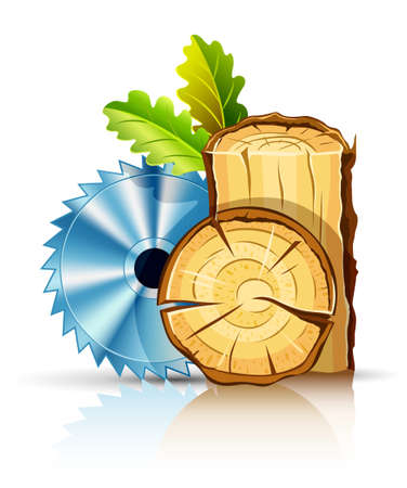 rinds: woodworking industry wood with circular saw vector illustration isolated on white background