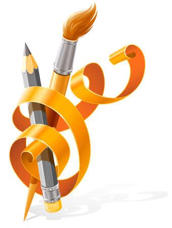 art tools pencil and brush braided by orange ribbon illustration, isolated on white background Stock Illustration - 7179937