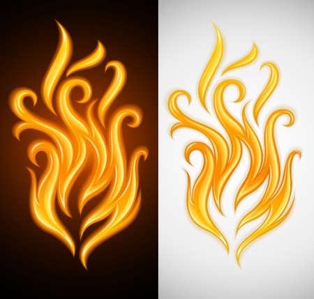 hot yellow flame symbol of burning fire illustration Stock Illustration - 7236162