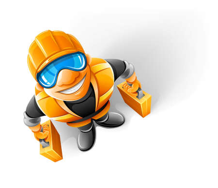 happy worker in helmet with suitcase looking upwards illustration Stock Vector - 7515471