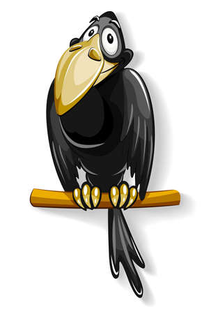 crow: nice black crow sitting on pole illustration, isolated on white background
