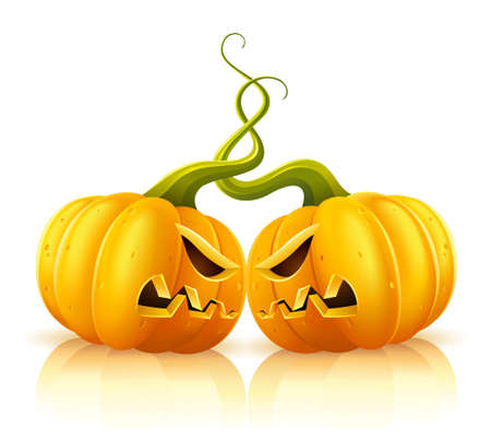 malice: two aggressive halloween pumpkins in skirmish illustration, isolated on white background Illustration