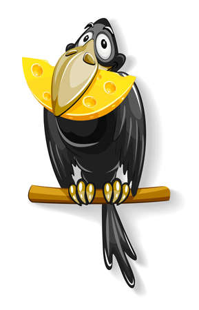 eatable: black crow with piece of cheese in beak illustration, isolated on white background