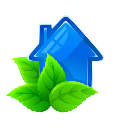 immovable property: symbol of ecological house illustration isolated on white background