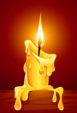 Flamme des brennenden Kerze mit tropfendes Wachs-Abbildung  Vektorgrafik