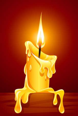 vlam van brandende kaars met druipende wax illustratie Vector Illustratie