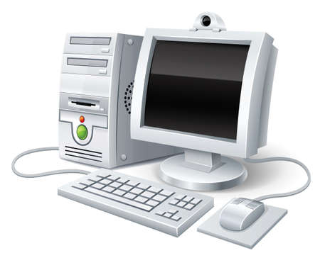 electronic device: pc computer with monitor keyboard and mouse Illustration