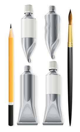 a brush: artist tools pencil brush and tubes with paint illustration, isolated on white background