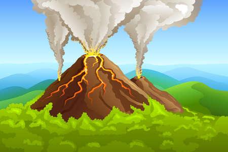 Vulcano fumante tra montagna verde con illustrazione di foresta  Vettoriali