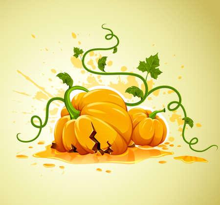 defective: broken halloween pumpkin on grunge background  illustration