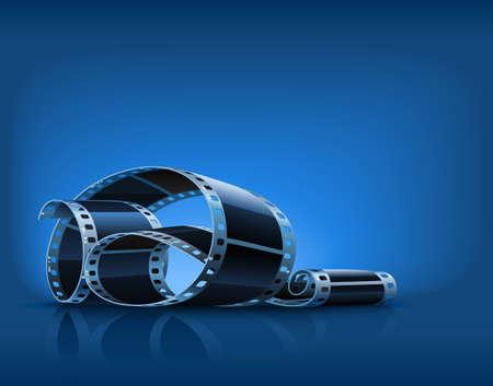 Twisted Film für Foto oder Video-Aufnahme auf blauem Hintergrund illustration