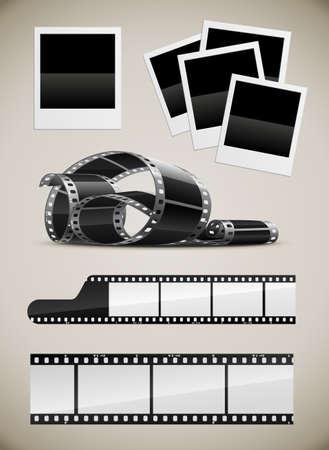 videofilm: Satz von Foto-video-Film und Foto-Bilder-illustration  Illustration