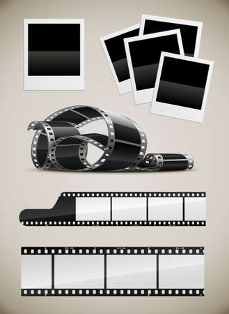 cinematograph: set of photo video film and  photo pictures  illustration