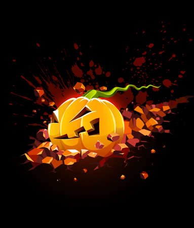 burning halloween pumpkin falling in stone  illustration isolated on black background Stock Vector - 7845175